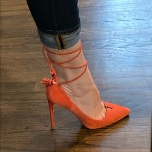 Brian Atwood sexy lace up suede pumps
